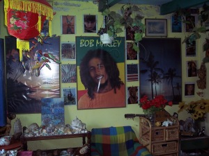 Had he lived Bob Marley would be exactly the same age as me. I spent the first year or two of my life in Kingston, Jamaica, so we must have passed each other on the street at least once, wheeled by our mothers or nannies. Therefore I virtually know him, and am entitled to put his picture on my bedroom wall. Apart from that, I love his music.